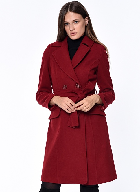 Dewberry Kaşe Palto Kırmızı